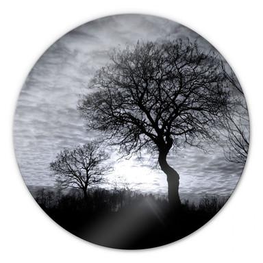 Glasbild Black and White Sunset - rund