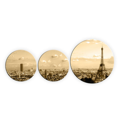 Glasbild Paris Skyline (3-teilig) - rund