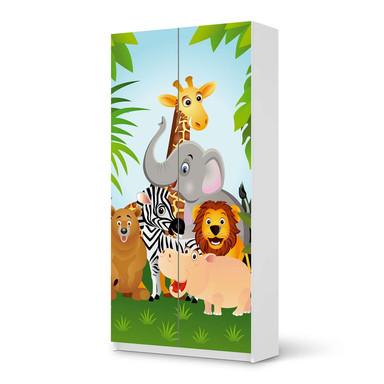 Klebefolie IKEA Pax Schrank 201cm Höhe - 2 Türen - Wild Animals