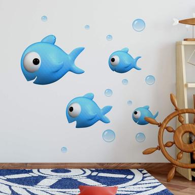 Wandtattoo Agullo - blauer Fischschwarm