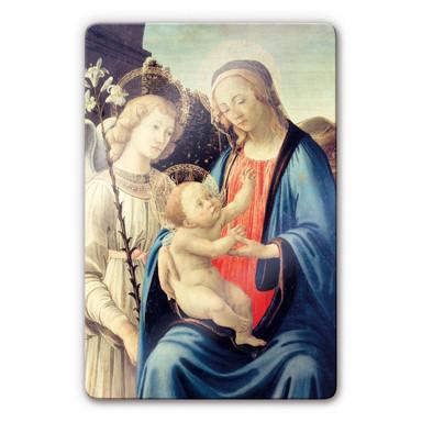 Glasbild Botticelli - Madonna mit Kind und einem Engel