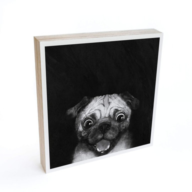 Holzbild zum Hinstellen - Graves - Snuggle Pug - 15x15cm - Bild 1