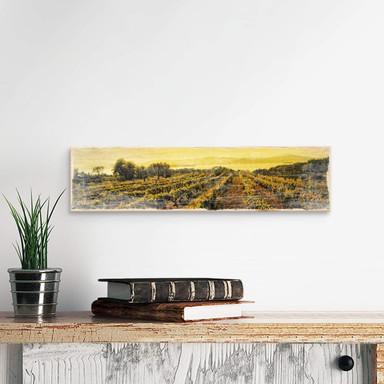 Holzschild Weinreben im Sonnenuntergang
