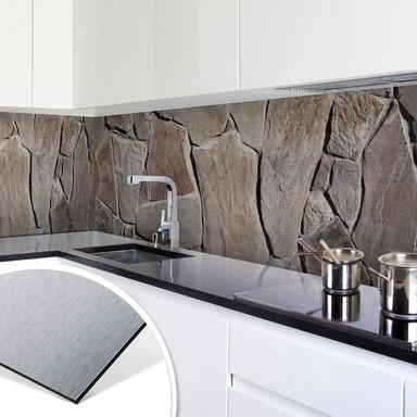 Küchenrückwand - Alu-Dibond-Silber - Mediterrane Mauer