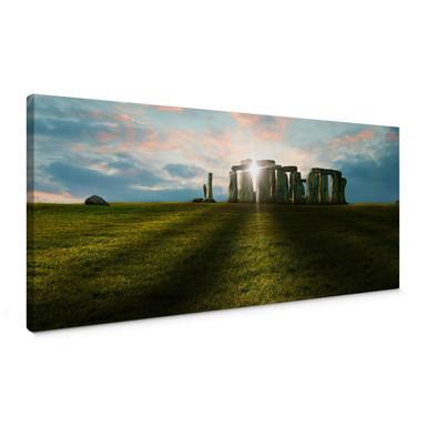 Leinwandbild Stonehenge im Sonnenuntergang - Panorama