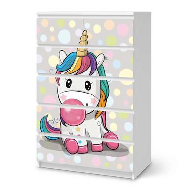Möbel Klebefolie IKEA Malm Kommode 6 Schubladen (hoch) - Rainbow das Einhorn- Bild 1
