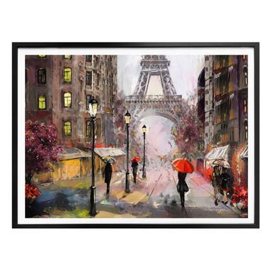 Poster Roter Schirm in Paris Aquarell