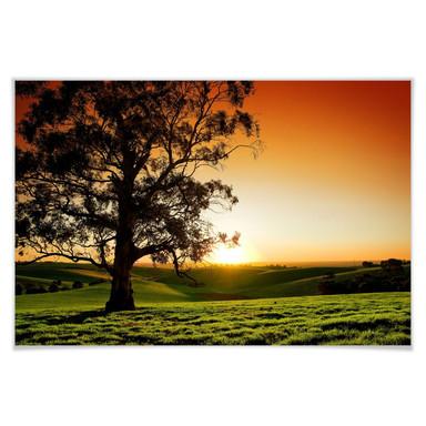 Poster Sonnenuntergang über den Hügeln