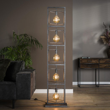 famlights | Stehleuchte Lina in Silber E27 5-flammig