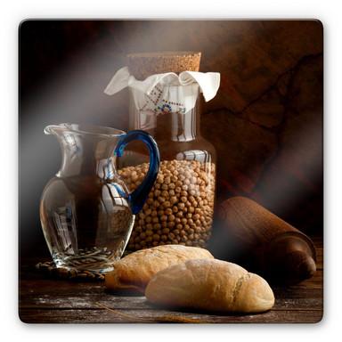 Glasbild Laercio - Italian Breads - quadratisch