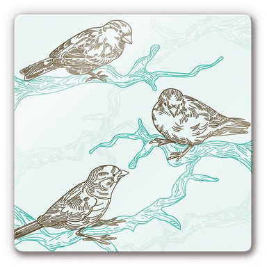Glasbild Spatzen Illustration
