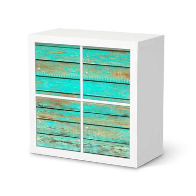 Klebefolie IKEA Kallax Regal 4 Türen - Wooden Aqua
