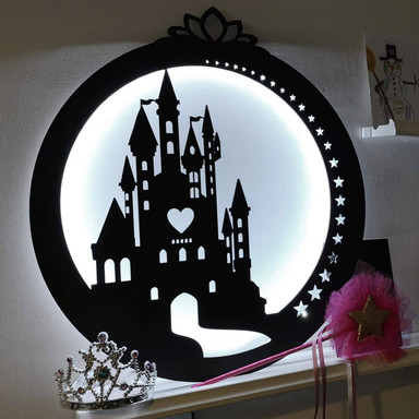 LED-Leuchtdeko aus MDF - Schloss mit Herz