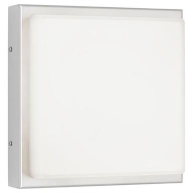 LED Wandleuchte Edelstahl, 13W, 910lm, 3000K, Aluguss, Opalglas, IP44. 250x250x95mm