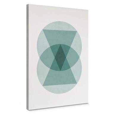 Leinwandbild Nouveauprints - Circles & triangles aqua