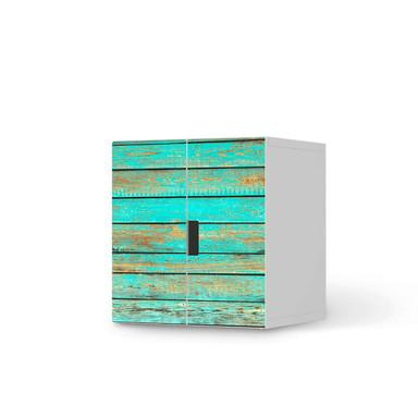 Möbelfolie IKEA Stuva / Malad Schrank - 2 kleine Türen - Wooden Aqua