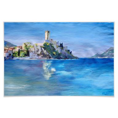 Poster Bleichner - Malcesine mit der Castello Scaligero