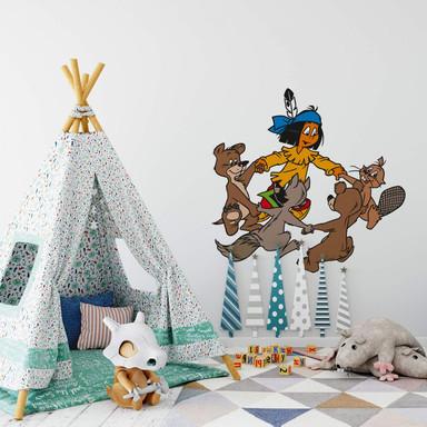 Wandsticker Yakari tanzt mit Tieren