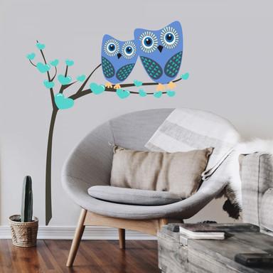 Wandtattoo Eulenbaum (blau)