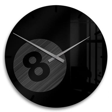 Acrylglasbild Billardkugel Uhr