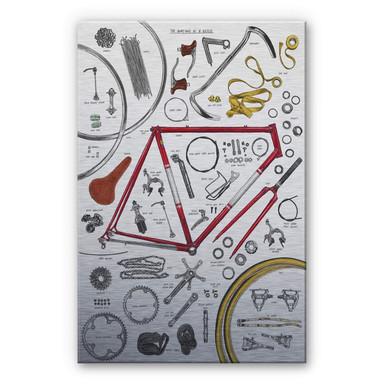 Alu-Dibond-Silbereffekt Sparshott - Aufbau eines Fahrrads