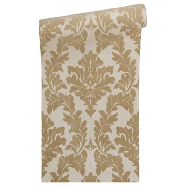 Architects Paper beflockte Tapete Castello gelb, metallic