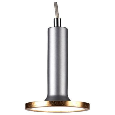 famlights | 1 Phasen LED Pendelleuchte Victor in Silber mit Leuchtmittel in Gold