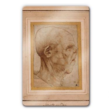 Glasbild da Vinci - Karikatur eines Männerkopfes im Profil