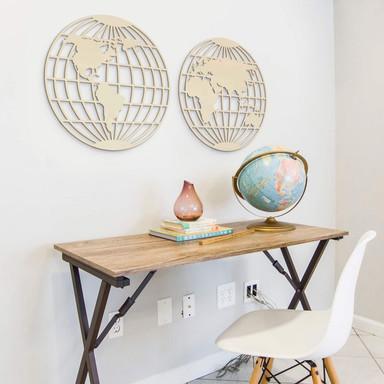 Holzkunst Pappel - Weltkarte - Globus (2-teilig)
