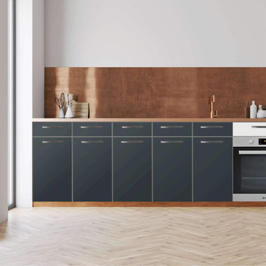 Küchenfolie - Unterschrank 200cm Breite - Blaugrau Dark