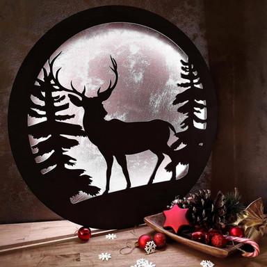 LED-Leuchtdeko aus MDF - Hirsch im Wald