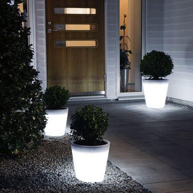LED Pflanzentopf Assisi aus Kunststoff in weiss, 280 mm hoch