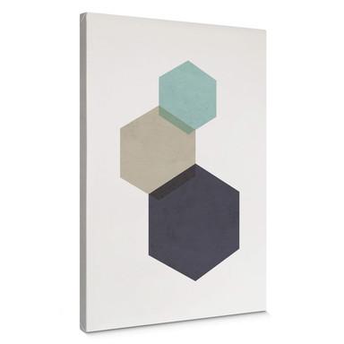 Leinwandbild Nouveauprints - Hexagons aqua