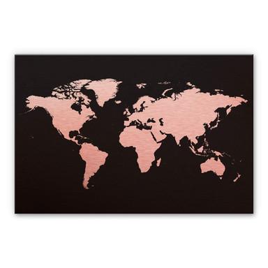 Alu-Dibond-Kupfereffekt - Weltkarte 02
