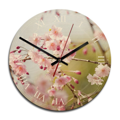 Holz-Wanduhr - Cherry Blossoms