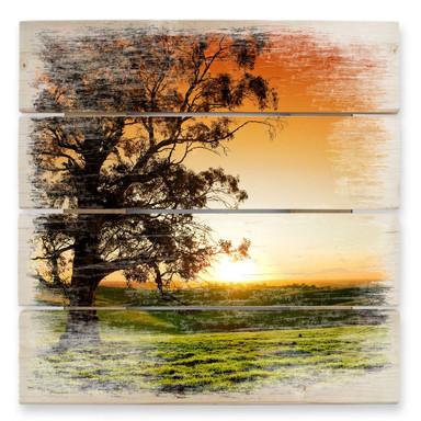 Holzbild Sonnenuntergang über den Hügeln