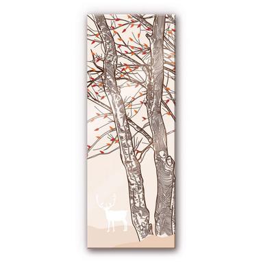 Acrylglasbild Hirsch im Wald Illustration - Panorama