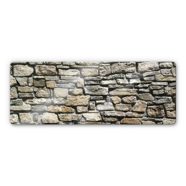 Glasbild Natursteinmauer Panorama