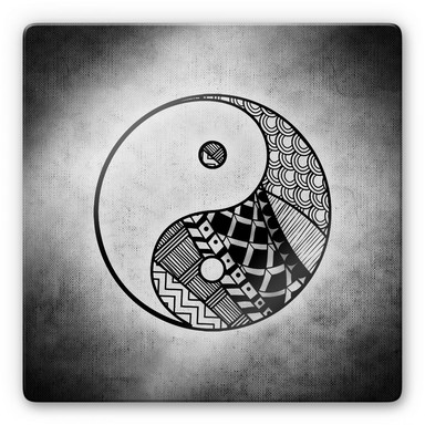 Glasbild Yin und Yang - quadratisch