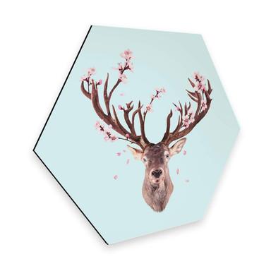 Hexagon - Alu-Dibond Loose - Cherry Blossom Deer