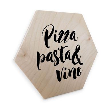 Hexagon - Holz Birke-Furnier Pizza Pasta Vino