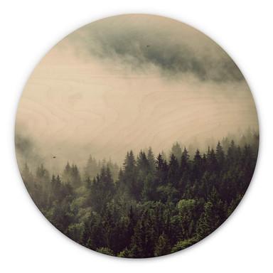 Holzbild Nebel im Wald 02 - Rund
