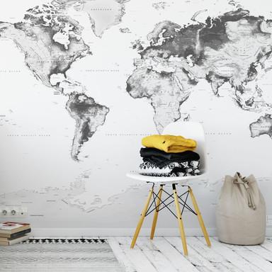 Fototapete - Topografische Weltkarte - schwarz-weiss