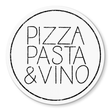 Glasbild Pizza Pasta & Vino weiss - Rund
