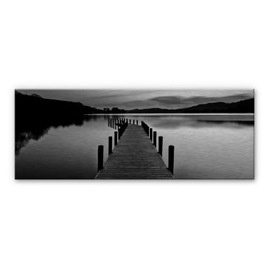 Alu-Dibond Bild Seepanorama - schwarz/weiss