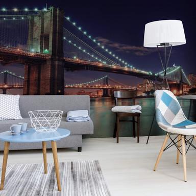 Fototapete Manhattan Bridge at Night 2 - 336x260cm - Bild 1