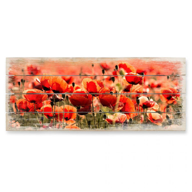 Holzbild Poppy Field - Panorama