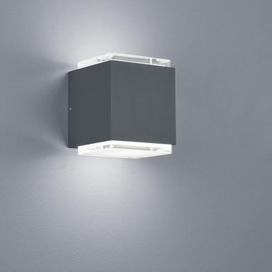 LED Wandleuchte Isy in Graphit und Transparent-satiniert 20W 1450lm IP54