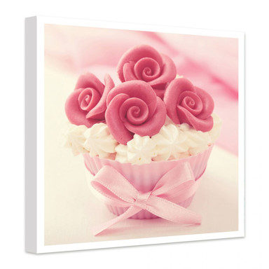 Leinwandbild Roses on Cupcake
