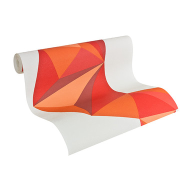 Mustertapeten Lars Contzen Tapete Origami Signalweiss, Rotorange, Feuerrot, Rosé, Rotbraun